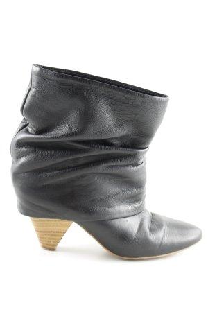 Zara Bottines plissées noir style décontracté