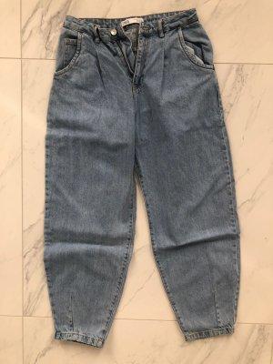 Zara Workowate jeansy błękitny-jasnoniebieski