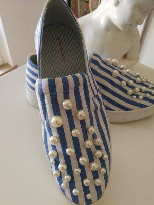 Zara Basket slip-on blanc-bleu