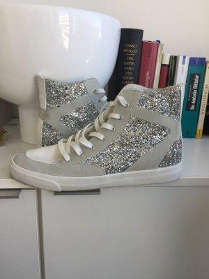 Zara sneaker weiß Silber grau Glitzer Gr 39 wie neu