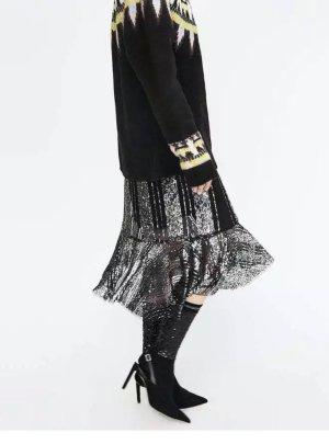 Zara Sock Boots Heels Pumps Slingbacks Pailletten schwarz Silber 38 neu