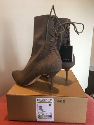 Zara Sock Boots Stiefeletten mit Schnürung hinten taupe grau braun beige Neu 38