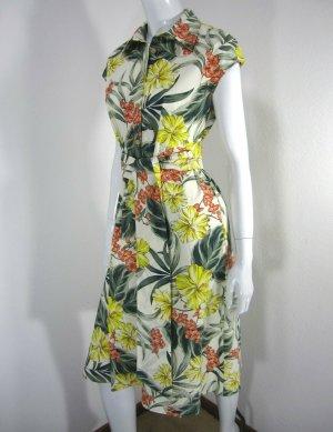 ZARA Sommer Hemdblusen Kleid Blumen Print Tunika Sarafan floral S 36 38 geblümt