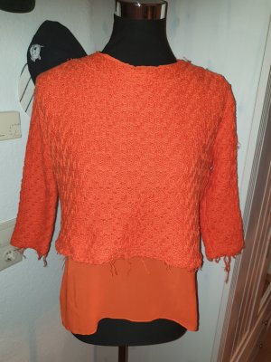 Zara Sweter z krótkim rękawem pomarańczowy neonowy