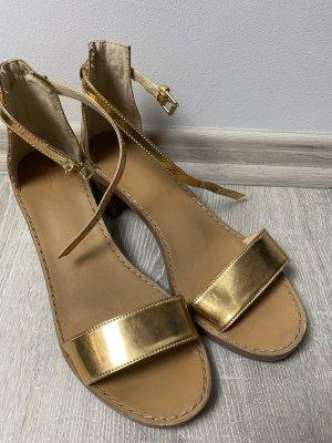 Zara sommer Sandalen Gold mit Absatz Schuhe gr 40