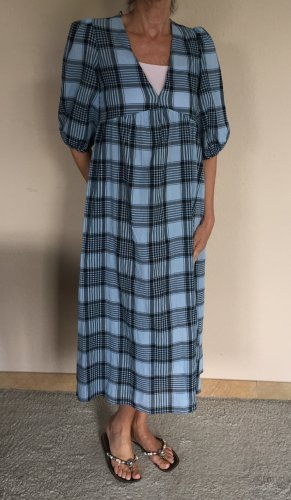 Zara Sommer Tunika Maxi Kleid Gr.XS hellblau schwarz kariert