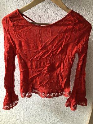 Zara Sommerbluse rot Spitze rückenfrei