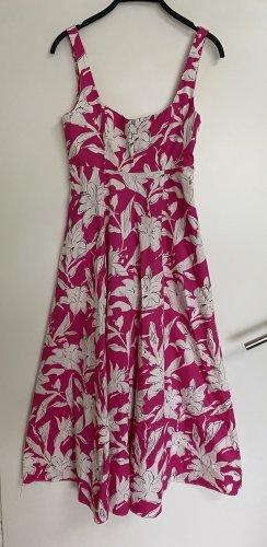 Zara Sommerkleid Blümchen Kleid Midi Lang Pink Weiss XS 34
