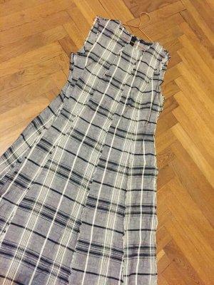 ZARA Sommerkleid Karomuster Gr. L Vintage schwarz weiß grau Viskose Baumwolle