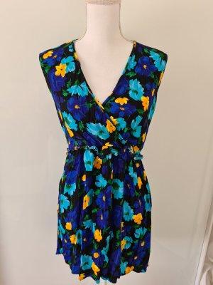 Zara Sommerkleid Mini Kleid  Blumenmuster in blau gelb grün schwarz Gr. S