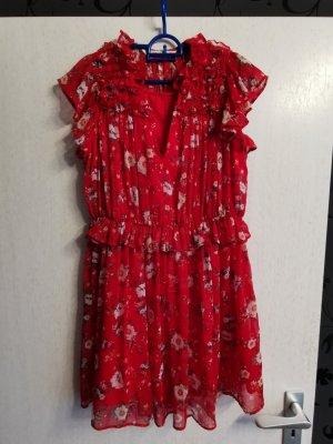 Zara Sukienka z falbanami biały-czerwony