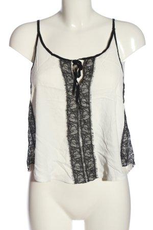 Zara Top z cienkimi ramiączkami biały-czarny W stylu casual