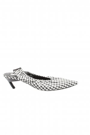 Zara Slingback Pumps black-white check pattern casual look
