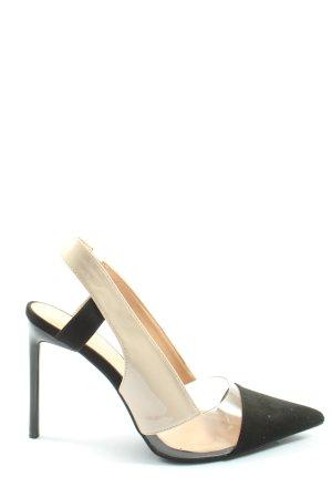 Zara Spitz-Pumps creme-schwarz Elegant