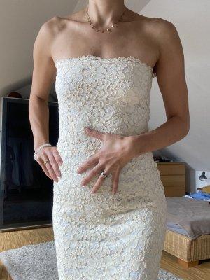 Zara Spitze S Hochzeit Creme elastisch neu ohne Etikett Kleid Hochzeitskleid
