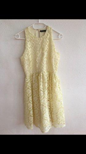 Zara spitzen Kleid spitze Pastell gelb Gr 38 M