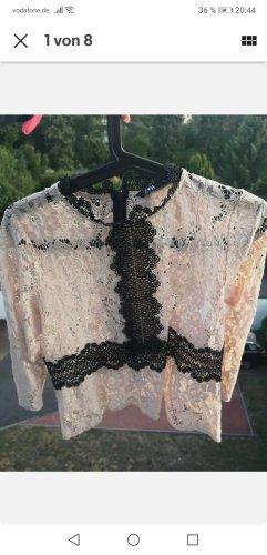 Zara Basic Camisa de malla negro-nude