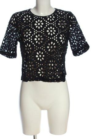 Zara Koronkowa bluzka czarny W stylu casual