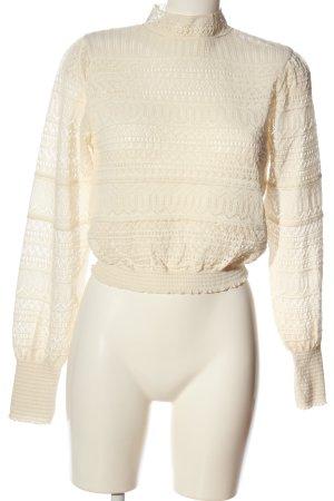 Zara Koronkowa bluzka kremowy W stylu casual