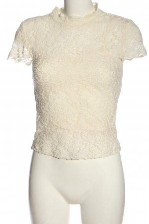 Zara Lace Blouse natural white allover print casual look