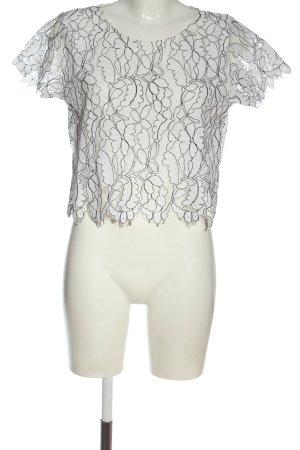 Zara Spitzenbluse weiß-schwarz Blumenmuster Casual-Look