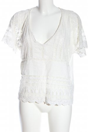 Zara Kanten blouse wit casual uitstraling