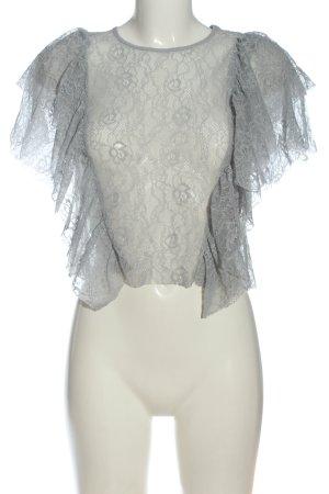 Zara Koronkowa bluzka jasnoszary Elegancki