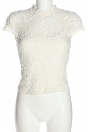 Zara Lace Blouse white flower pattern casual look