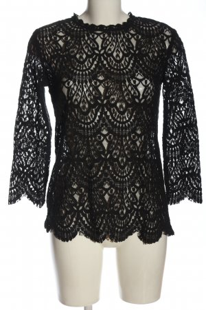 Zara Spitzenbluse schwarz abstraktes Muster Elegant