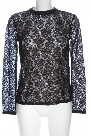 Zara Spitzenbluse schwarz Blumenmuster Casual-Look