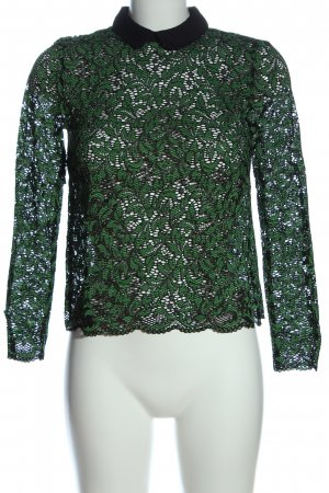 Zara Spitzenbluse grün-schwarz Elegant