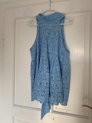 Zara Spitzenbluse in Hellblau Größe L
