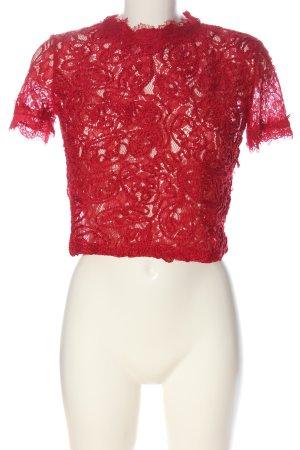 Zara Spitzenbluse rot Elegant