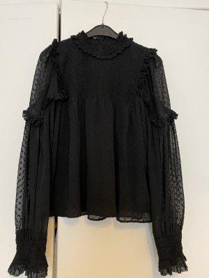 ZARA - Spitzenbluse, schwarz