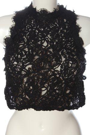 Zara Spitzenbluse schwarz Casual-Look