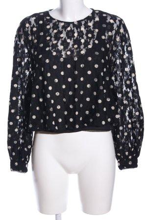 Zara Spitzenbluse schwarz-wollweiß Punktemuster Casual-Look