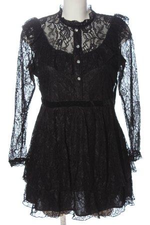 Zara Koronkowa sukienka czarny Siateczkowy wzór W stylu casual