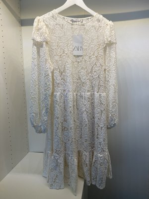 Zara Spitzenkleid in Cremeweiß mit Unterkleid Gr. L