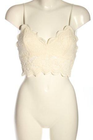 Zara Top de encaje blanco puro estampado con diseño abstracto look casual