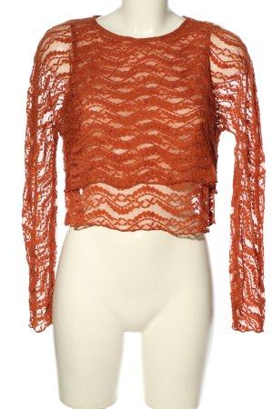 Zara Kanten topje licht Oranje casual uitstraling