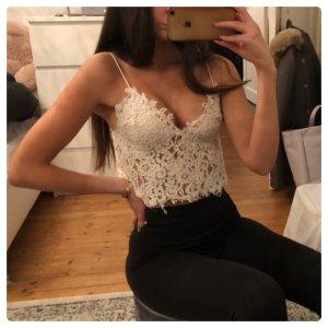 Zara Spitzentop Camisole Bustier Top Lace Weiß Creme Blogger