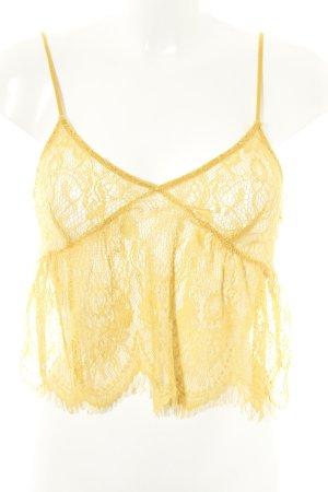Zara Spitzentop blassgelb Casual-Look