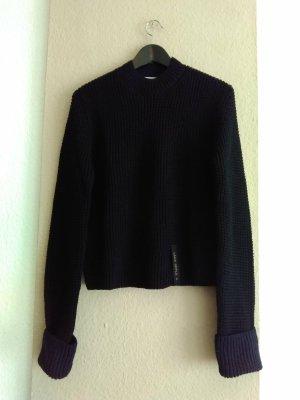Zara SRPLS hübscher Pullover in schwarz und marineblau aus 100% Wolle, Grösse S, neu
