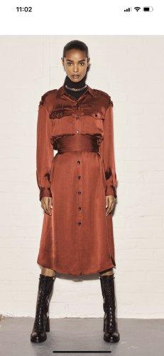 Zara Basic Szyfonowa sukienka bordo
