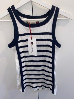 Zara Chemise côtelée blanc-bleu foncé