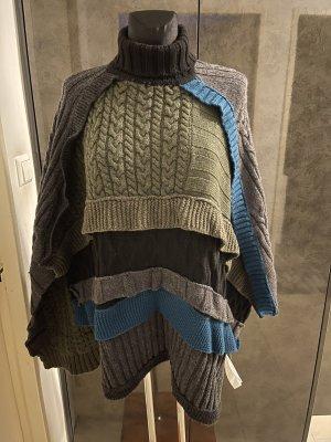 Zara Premium Veste longue gris foncé-bleu pétrole
