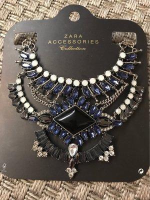 Zara Statement Kette Halskette Silber blau Prunkvoll Edel Strass Steine