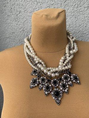 Zara Statement Kette Perlen schwarz