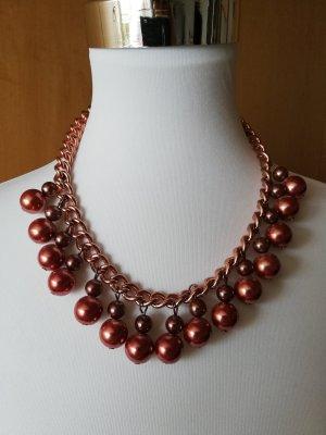 Zara Statement Kette rosegold Kugel weinrot burgundy