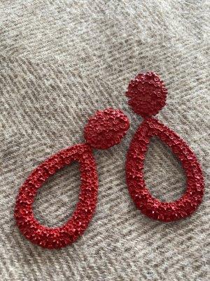 Zara Boucle d'oreille incrustée de pierres rouge brique